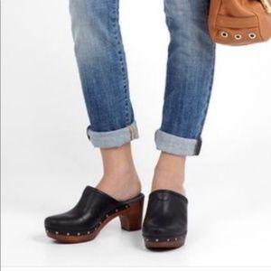 UGG Abbie Black Leather Platform Clogs  7 6.5